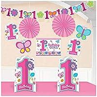 Amscan Kit de decoración para habitación, Primer cumpleaños para niña