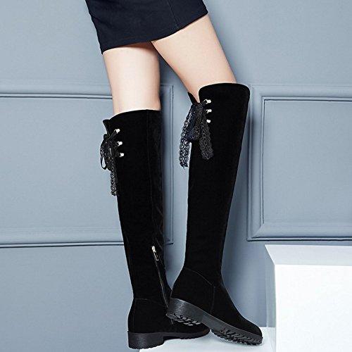 TAOFFEN Damen Mode Autumn Winter Blockabsatz Langschaft Stiefel Mit Reißverschluss Schwarz