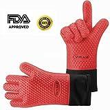 Voyage Premium Ofenhandschuhe (2er Set) bis zu 350°C - Silikon Extrem Hitzebeständige Grillhandschuhe BBQ Handschuhe zum Backen, Barbecue, Extra Lange Topfhandschuhe für Extreme Sicherheit (Rot)