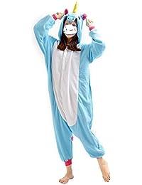 Kenmont animal pijamas navidad carnaval disfraz cosplay unicornio adulto (XL, Azul)