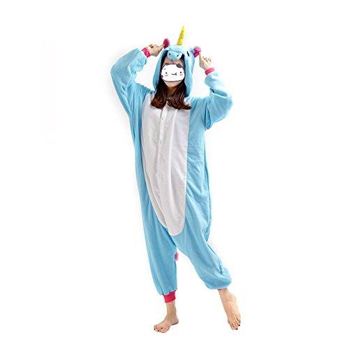 Tier Karikatur Kostüm Einhorn Pyjama Tierkostüme Jumpsuits Erwachsene Schlafanzug Cosplay Fasching Karneval (S, Blau)