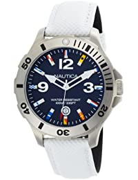 Nautica Watch N12568G–For Men, White Leather Strap