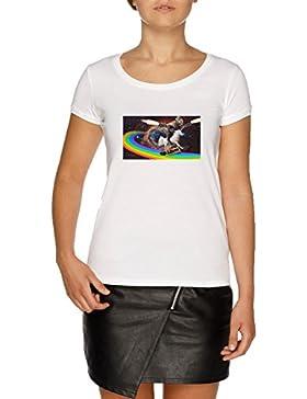 Jergley Espacio Surf Unicornio Dinosaurio Camiseta Blanco Mujer | Women's White T-Shirt