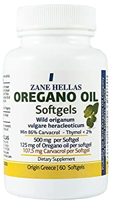 Zane Hellas Oregano Oil Capsules Soft. concéntrese 4: 1 provides Carvacrol 107.5 MG PER Portion. Pack of 60 Capsules Softgels- Oil of Oregano from ZANE HELLAS
