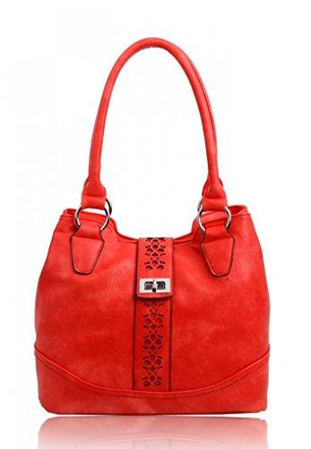 LeahWard Frauen weiche leichte Schulter Handtaschen Qualität Faux Leder Handtaschen für Frauen Für die Schule CW14106 (Perle Schultertasche) Rot Schultertasche
