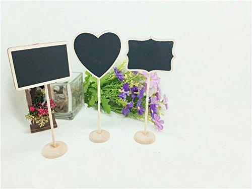 12Mini Kreidetafeln, Nachricht Memo Schild mit Ständer, Polygon Herz Rechteck (Assistent Für Party Supplies)
