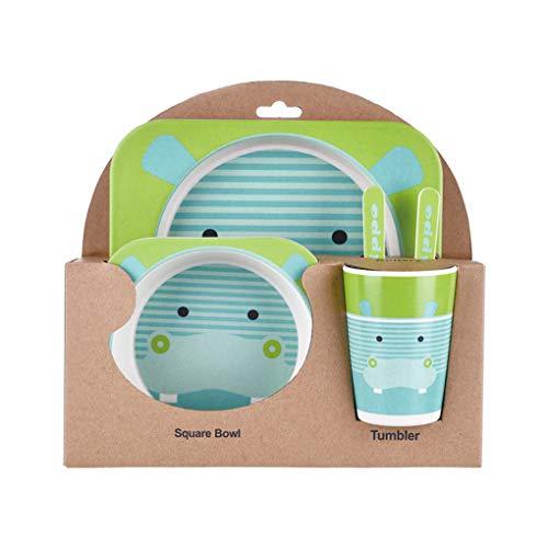 Flushzing Kinder-Geschirr-Set 5er Baby-Bambusfaser-Cartoon Bowl Tier Geschirr Set Kleinkind-Cup-Löffel-Gabel