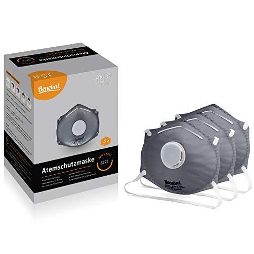 Benehal® 15x Atemschutzmaske FFP2 mit Aktivkohlefilter- Atemmaske für exzellenten Schutz - Geprüfte Mundschutz Maske - Fest sitzend - Komfortabel und Anpassbar