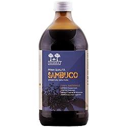 Succo di Sambuco Salugea 100% puro - Integratore notificato al Ministero della Salute - DIFESE IMMUNITARIE - 500 ml - Flacone in vetro scuro (Mai in Plastica)