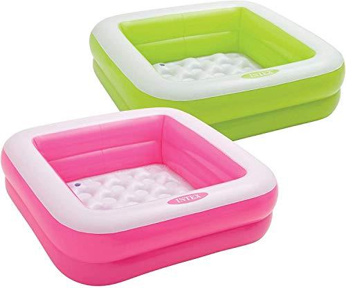 Intex 57100NP - Piscina infantil hinchable, forma cuadrada color rosa o verde, 85 x 85 x 23 cm (modelo variable según imagen)