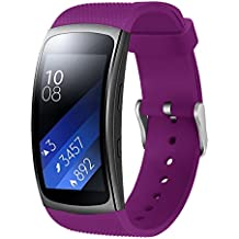 SongNi® Soft Silicone Sport Replacement Strap for Samsung Gear fit 2/Gear Fit2 Pro Smart Watch-Purple(tracker is not included)