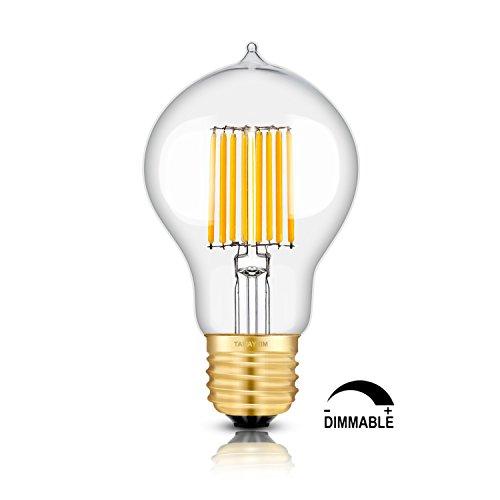 TAMAYKIM A60 8W Dimmable Vintage Edison Style LED Filament Light Bulb, 2700K Warm White 800LM, E27 Base Antique Shape…
