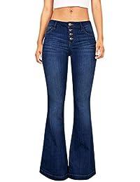 366a4c0a57d1 Petalum Damen Jeans Stretch Skinny Low Waist Weites Bein Casual Jeanshose  Retro Stil Blau Denim Schlagjeans