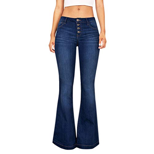 Lisli Damen Jeanshose Bootcut Schlaghose Skinny Stretch Hohe Taille Denim Jeans Hose Boyfriend Freizeithose Party Clubwear - 70er Jahre Jean