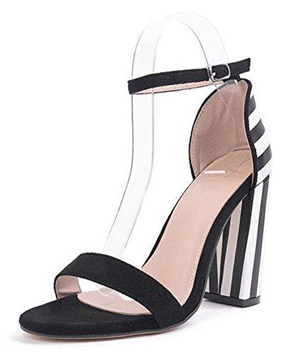 Aisun Femme Confort Rayure Bride Cheville Chunky Sandales Noir