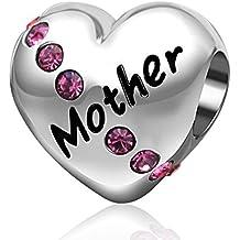 Amor cristal y madre de charm-925plata de ley corazón charms-for mujeres charms pulsera
