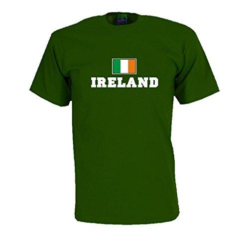 T-Shirt Irland IRELAND Flagshirt bedrucktes Fanshirt, Flagge und Schriftzug Geschenk Andenken für Besucher Gäste Fans (WMS02-27a) Mehrfarbig
