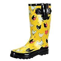 SheSole Ladies Wellington Boots Waterproof Rubber Wide Calf Wellies Yellow