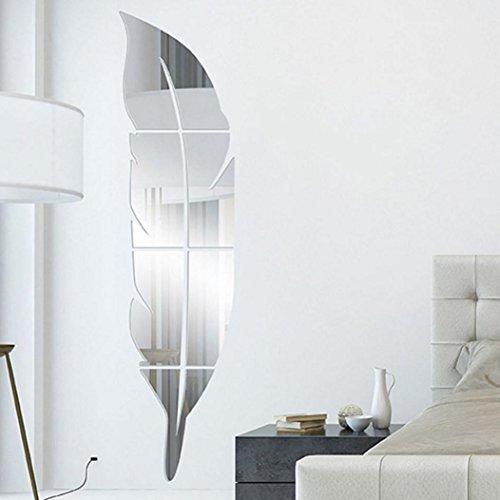 3D Feder Spiegel Wandaufkleber, Lenfesh Kunst Acryl Wandmalerei Abziehbild Home Zimmer Dekor (Silber)