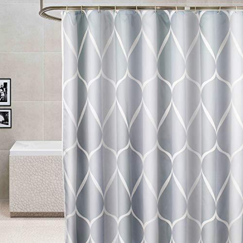 YISHU Top Qualität Duschvorhang Wasserdicht Anti-Schimmel Stoff inkl. 12 Duschvorhangringe für Badezimmer Grau 240x200cm