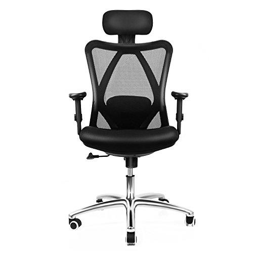 INTEY Bürostuhl Ergonomischer Schreibtischstuhl Mehrfacher Schutz(Halswirbel- Schulter- Lendenwirbelstütze ) mit Atmungsaktivem Stoff Modularer Aufbau Belastbar bis 400kg