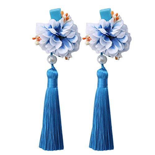 Kissherely Japanische Kimono-Haarnadeln süße Fee Haarspangen Prinzessin lange Quaste Blumen Haarspangen für Erwachsene und Kinder (blau)