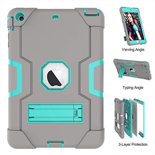 Mini 2Case, iPad Mini 3, uzer (Heavy Duty stoßfest Anti-Rutsch Silikon High Impact Resistant Hybrid Drei Schicht Armor Schutzhülle mit Ständer für iPad Mini 1/2/3, Gray+Aqua ()