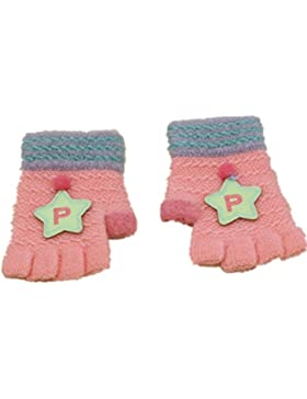Pormow Herbst und Winter 1-3 Jahre alt Cartoon Warm Handschuhe Kind Half Finger Gestrickt Handschuhe