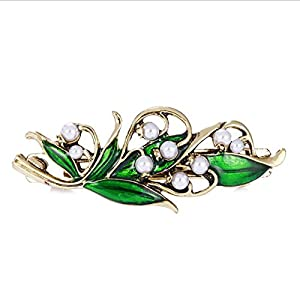Mainbead Vintage Schmuck Kristall Haarspangen Lily of The Valley Haar Barrette, Haarschmuck, Pearl Barrette, Hochzeit Barrette, Braut Zubehör, Art Nouveau Schmuck