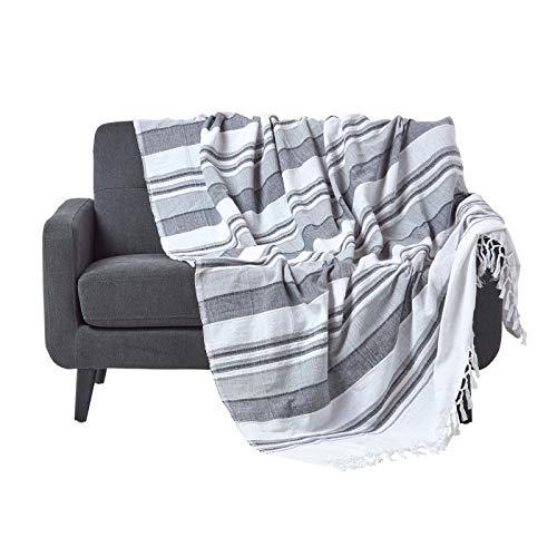 Homescapes Jet/é de canap/é /à franges en 100/% coton couleur Noire de 150 x 250 cm en motif Blanc pied de poule