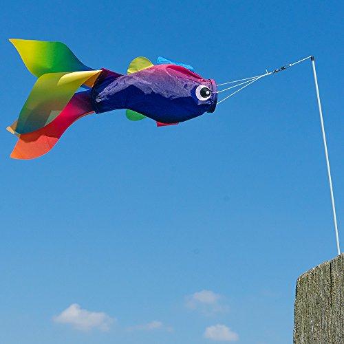 CIM Windsack - Stockfisch RAINBOW Windsack - UV-beständig und wetterfest - Abmessungen: 45x15x6cm - inkl. Fiberglasstab und Wirbelclip