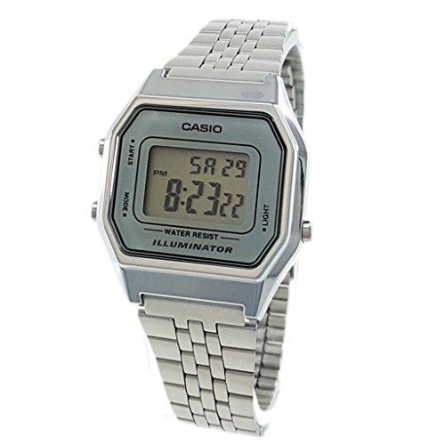 Casio Damen Digital mit Edelstahl Armbanduhr LA680WA 7D (Casio Damen-uhr Silber)