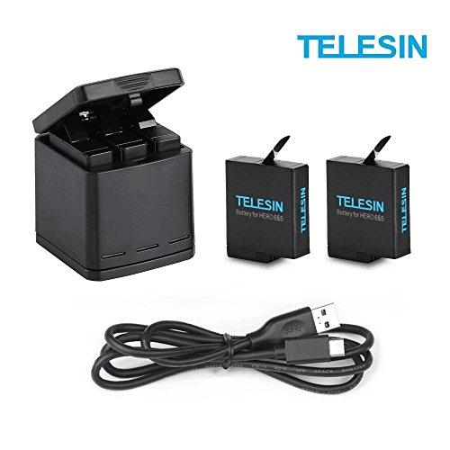 TELESIN Chargeur de Batterie Triple Set Chargeur + Batteries avec cble USB Type-C Kit d'accessoires pour GoPro Hero 6 / Hero 5 (Kit de Batterie de Chargeur 3 en 1)