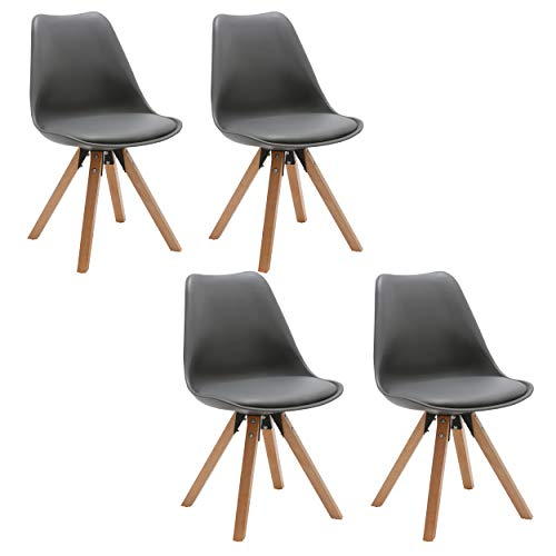 Duhome Elegant Lifestyle 4er Set Stuhl Esszimmerstühle Küchenstühle in Grau Küchenstuhl mit Holzbeine Sitzkissen Esszimmerstuhl Retro Küchenstuhl Farbauswahl