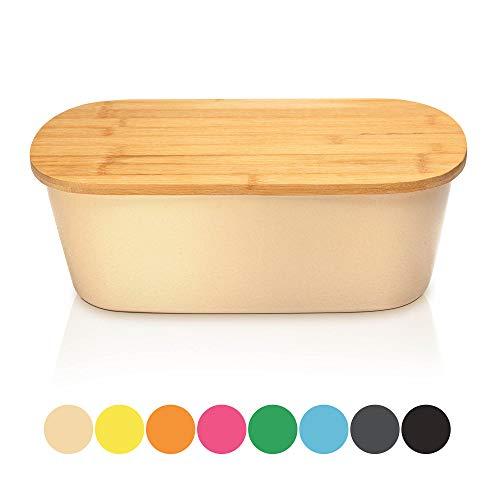 Bambuswald Brotbox mit integriertem Schneidebrett 38x21,5x12 cm - Brotdose | Brotkasten für Croissants, Brot o. Brötchen | Brotbehälter mit Küchenbrett | Brotbrett Natur