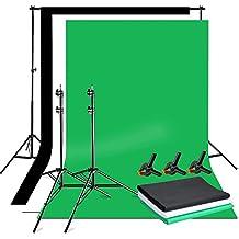 BPS Fondale Fotografico Kit Sfondo Supporto Alluminio+Sfondi Di 3.2x1.6m Tessuto non Tessuto Nero,Bianco,Verde + Borsa per il trasporto sono Studio Fotografico Professionale