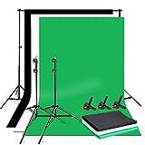 Sistema de telón de Fondo Ajustable para Estudio fotográfico de 1.6mx3m Blanco Negro Verdes Pantalla de Fondo, Kit Soporte Fondo- 2×2m Sistema de Soporte de Soporte+Bolsa para fotografía y Retrato