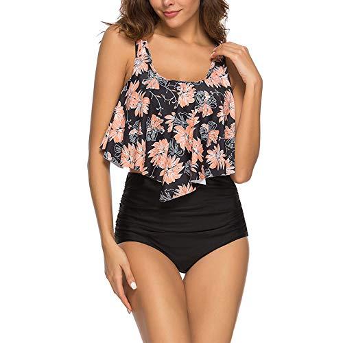 WHCREAT Damen Swimwear Bikini Set Schultergurte Gepolsterte Tankini Floral Rüschen Zweiteilige Strandbadeanzüge (SCHWARZES ROSA XL) -