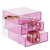 iDesign Drawers Make-Up-Organizer | hochwertige Aufbewahrungsbox für Schminke, Kosmetika & Co. | Schubladenbox mit 3 Schubladen | Kunststoff pink