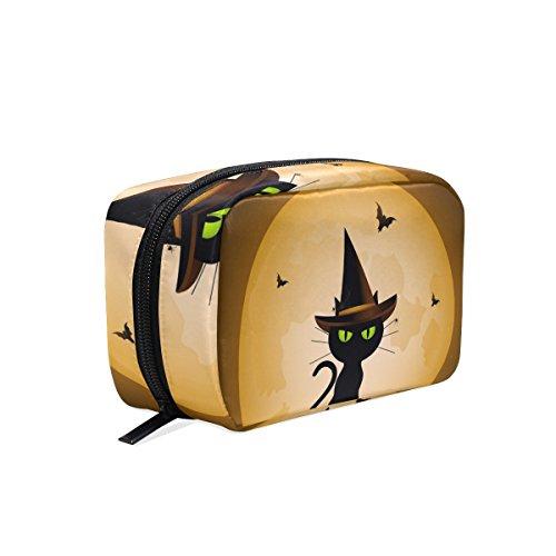 tizorax Halloween Witch 's Cat und Full Moon Praktische Kosmetik Tasche Kupplung Make-up-Tasche Organizer Reisetasche (Up-halloween Cat Make)