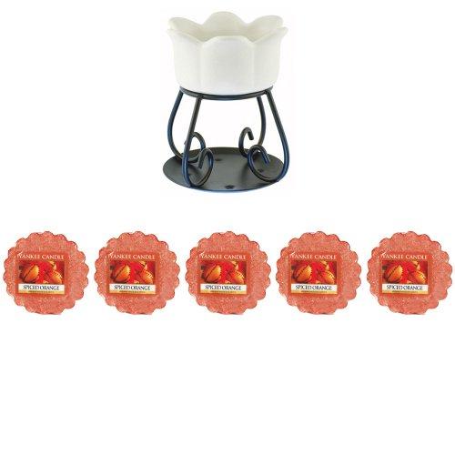 Yankee Candle - 5 x Orange épicée Tartelettes + Pétale Bol à tarte Brûleur - Brûleur (nouvelle Couleur Blanc pour 2014)