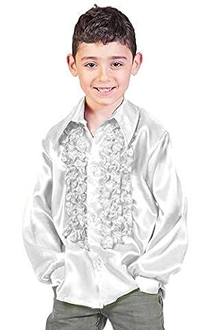 Satin Rüschenhemd Johnny für Kinder - Silber Gr. 152 (70er Jahre Disco-kostüme Für Kinder)