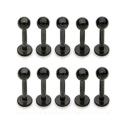 Lip Labrets - SODIAL(R) 10x Black titanium anodized Labret /Monroe Lip Chin Body piercing jewelry 16gauge (1.2mm) x 3/8