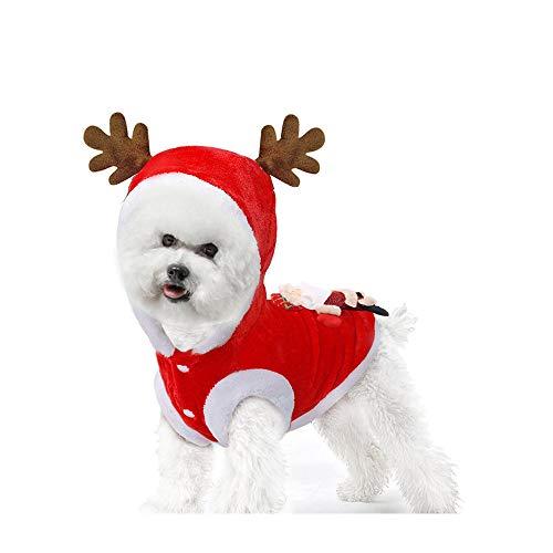 Fansu Christmas Kostüm Hund Haustier Hund Katze Christmas Kostüme, Einstellbare Warme Kleidung Netter mit Kapuze Pullover Hundepullover Party Cosplay Dekoration (XL,Rot)