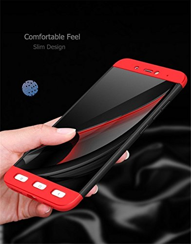 Ejebo Redmi Note 4x Case, Double Dip 3 in 1 Hard Shockproof Case Cover for Xiaomi MI Redmi Note 4x [ Redmi note 4x case ] - Black-Red