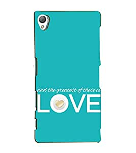 Fiobs Designer Back Case Cover for Sony Xperia Z5 :: Sony Xperia Z5 Dual 23MP (And Greatest Of These Is Love Romantic Mobile Cover)