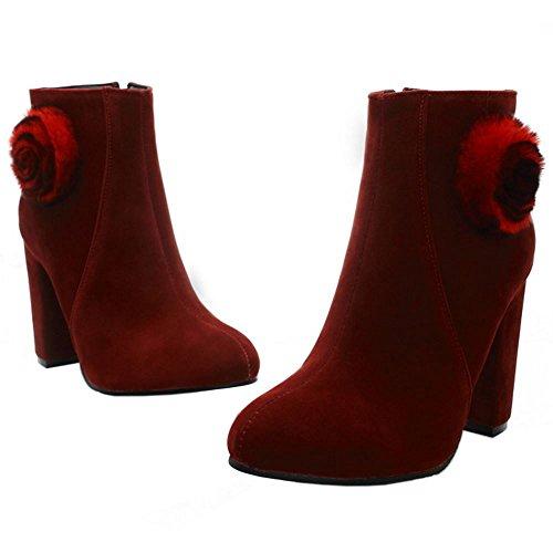 RAZAMAZA Femmes Elegant Bottines De Cheville Talon Haut Bottes Fermeture Eclair red