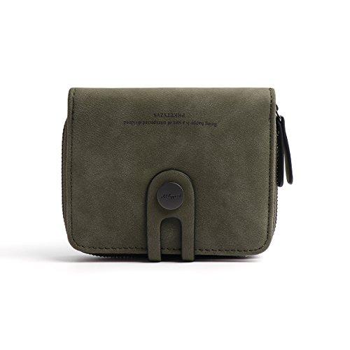 OURBAG Billetera Bifold simple de mujer Monedero de cuero con cremallera Titular de la tarjeta de crédito Billetera corta Verde oscuro