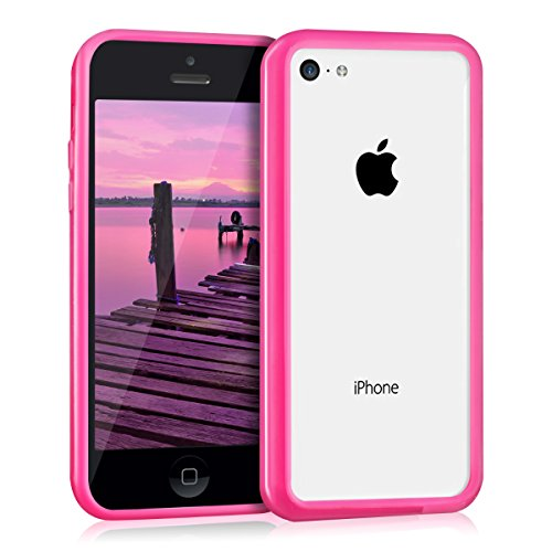 kwmobile Stiloso Bumper in TPU silicone compatibile con Apple iPhone 5C in fucsia - Protegge il cellulare a 360°
