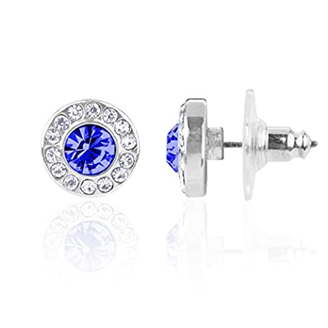 Lux Accessories Sapphire September Saphire Birthstone Pendant Disc Pave Charm Stud Earrings Birthday Stone